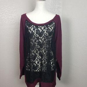 Torrid Lace Front Tunic Sweatshirt Size 2X NWT
